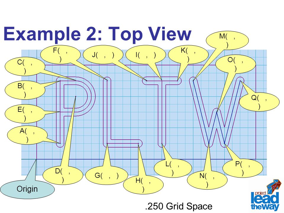 Example 2: Top View .250 Grid Space Origin A( , ) E( , ) D( , ) C( , )