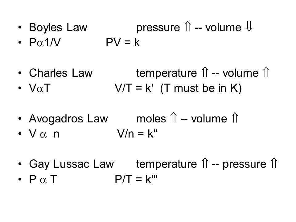 Boyles Law pressure  -- volume 