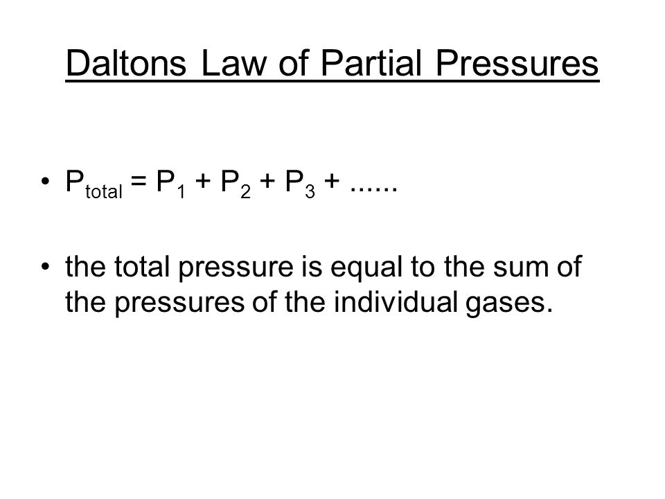 Daltons Law of Partial Pressures