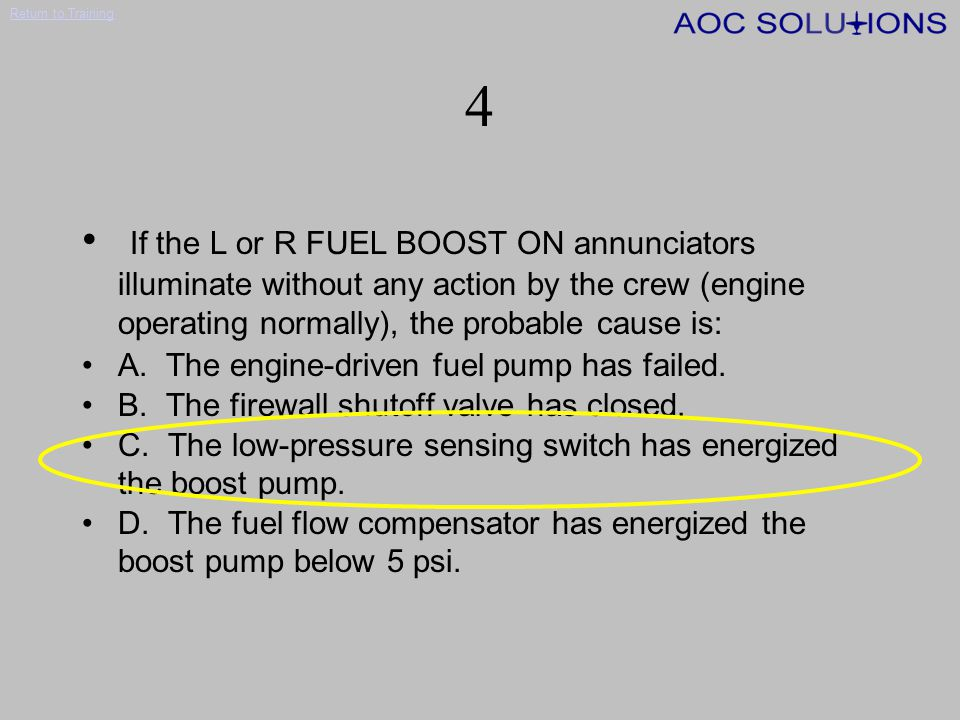 4 If the L or R FUEL BOOST ON annunciators illuminate without any action by the crew (engine operating normally), the probable cause is: