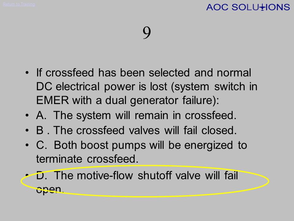 9 If crossfeed has been selected and normal DC electrical power is lost (system switch in EMER with a dual generator failure):