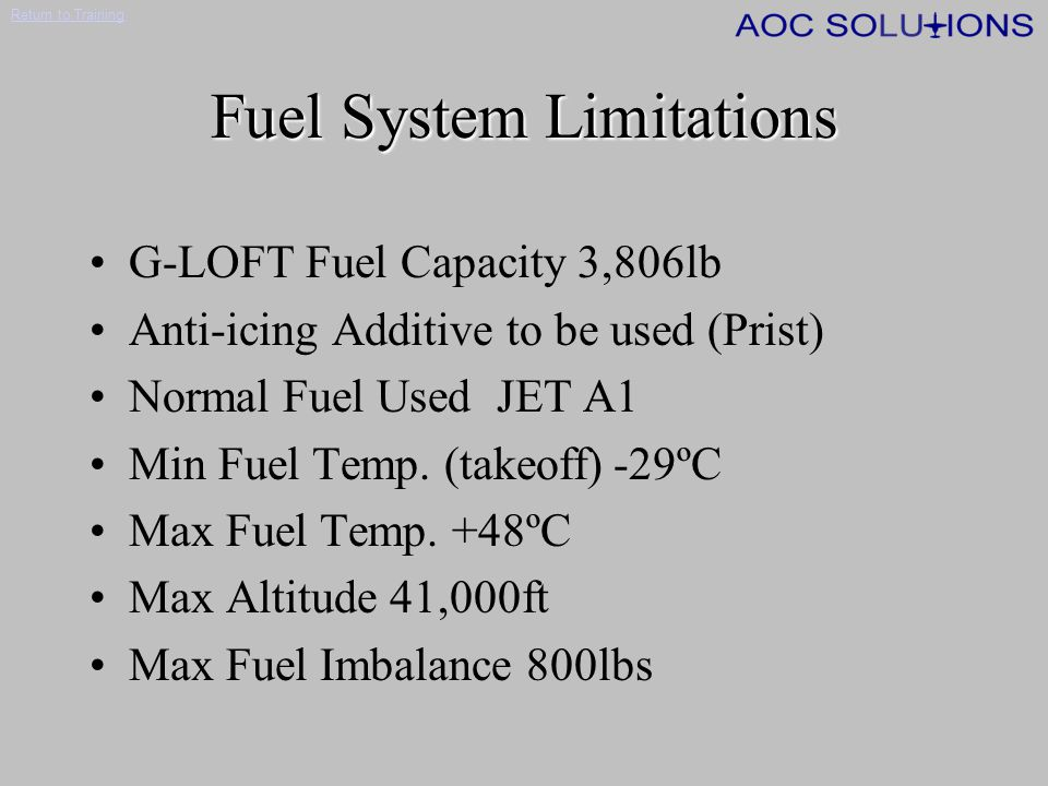 Fuel System Limitations