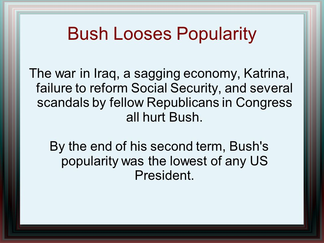 Bush Looses Popularity