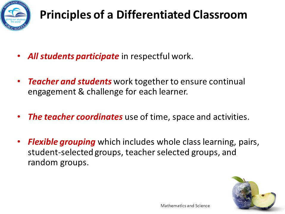 Principles of a Differentiated Classroom