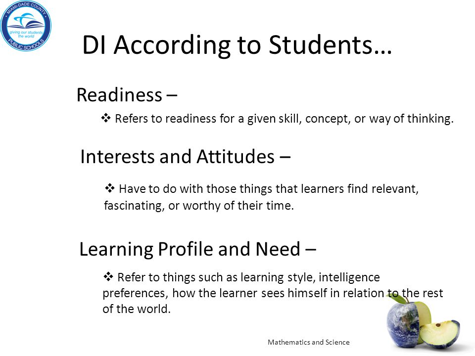DI According to Students…