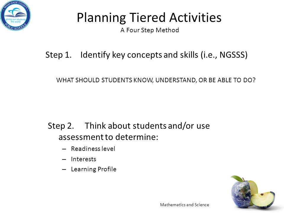 Planning Tiered Activities A Four Step Method