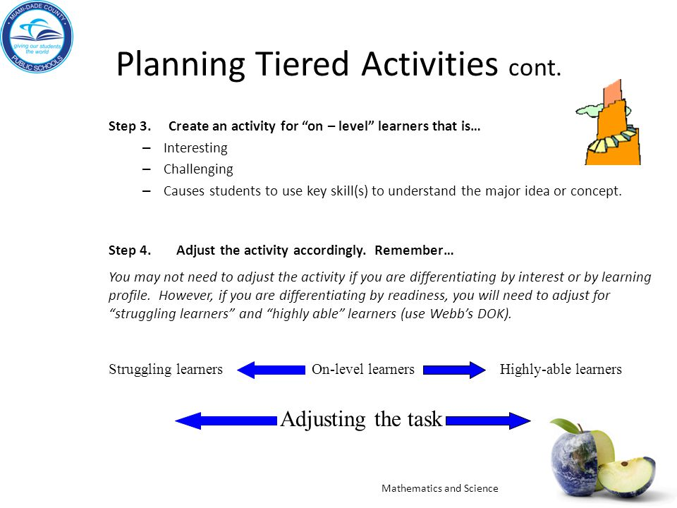 Planning Tiered Activities cont.