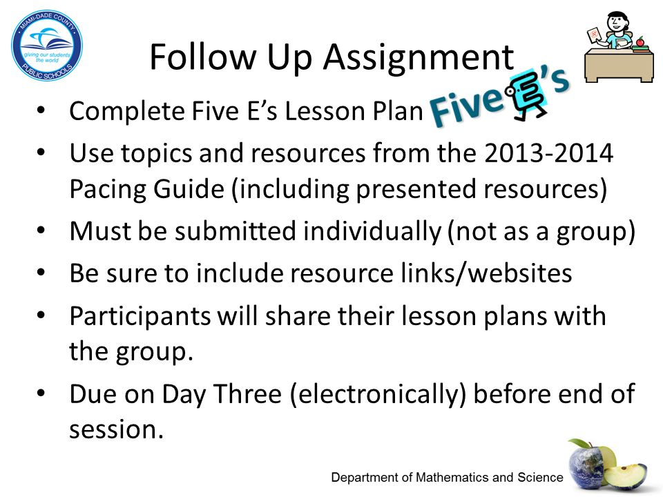 Follow Up Assignment Complete Five E's Lesson Plan