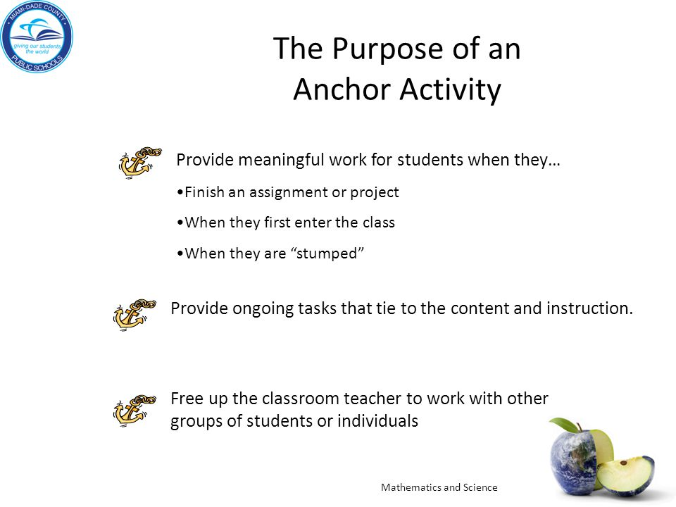 The Purpose of an Anchor Activity