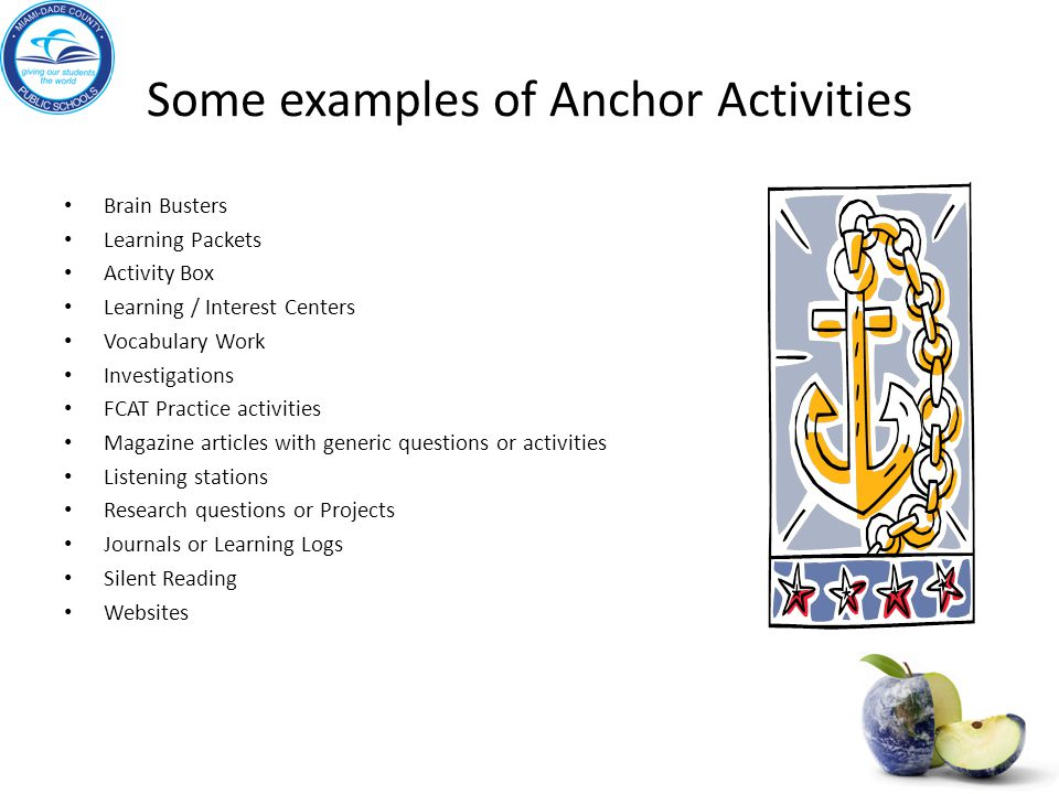 Some examples of Anchor Activities