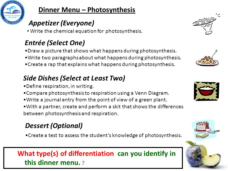 Dinner Menu – Photosynthesis