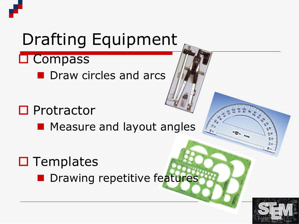 Drafting Equipment Compass Protractor Templates Draw circles and arcs