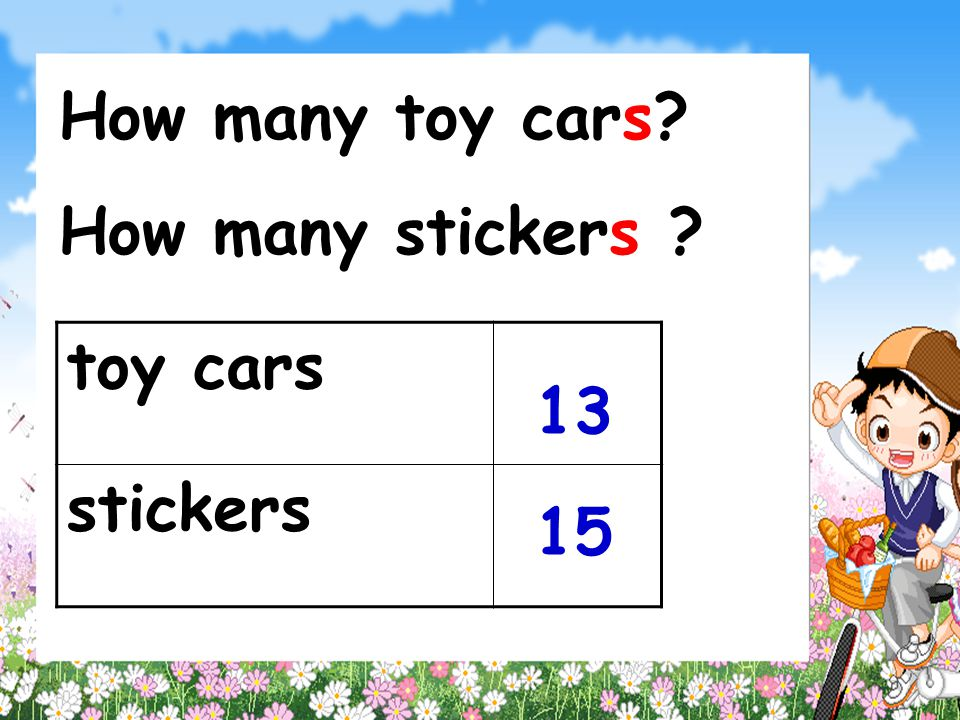 How many toy cars How many stickers toy cars stickers 13 15