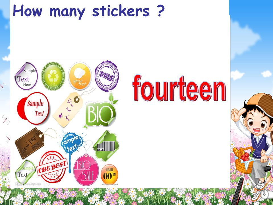 How many stickers fourteen