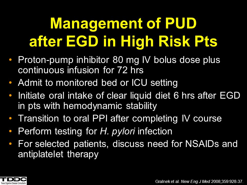 Management of PUD after EGD in High Risk Pts