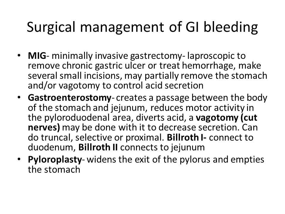 Surgical management of GI bleeding