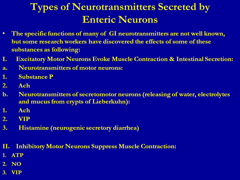 Types of Neurotransmitters Secreted by Enteric Neurons