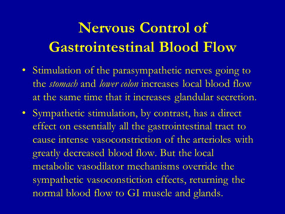 Nervous Control of Gastrointestinal Blood Flow