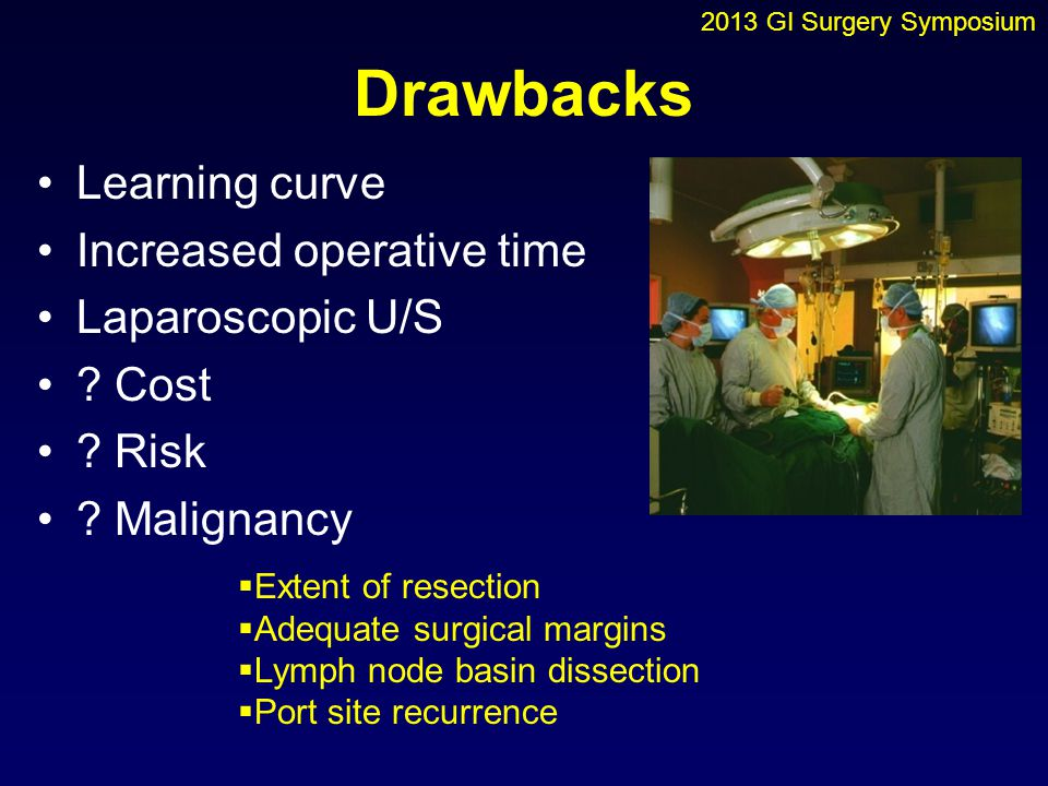 Drawbacks Learning curve Increased operative time Laparoscopic U/S
