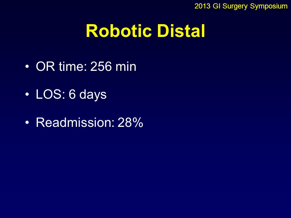 Robotic Distal OR time: 256 min LOS: 6 days Readmission: 28%