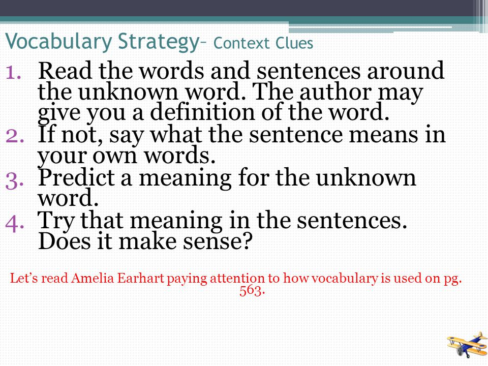 Vocabulary Strategy– Context Clues