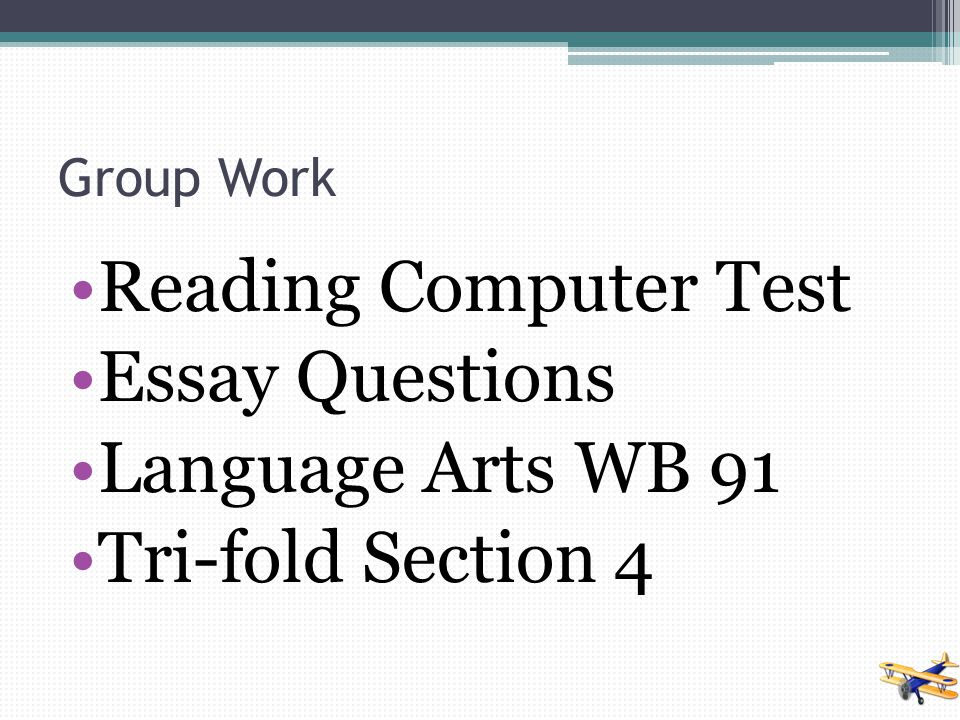 Reading Computer Test Essay Questions Language Arts WB 91