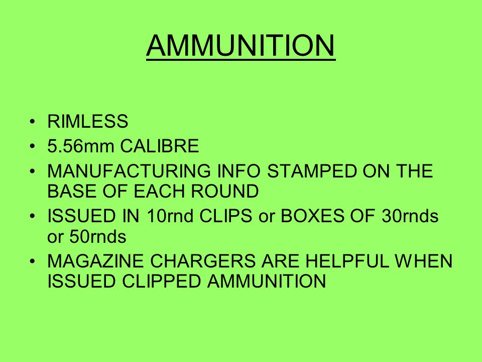 AMMUNITION RIMLESS 5.56mm CALIBRE