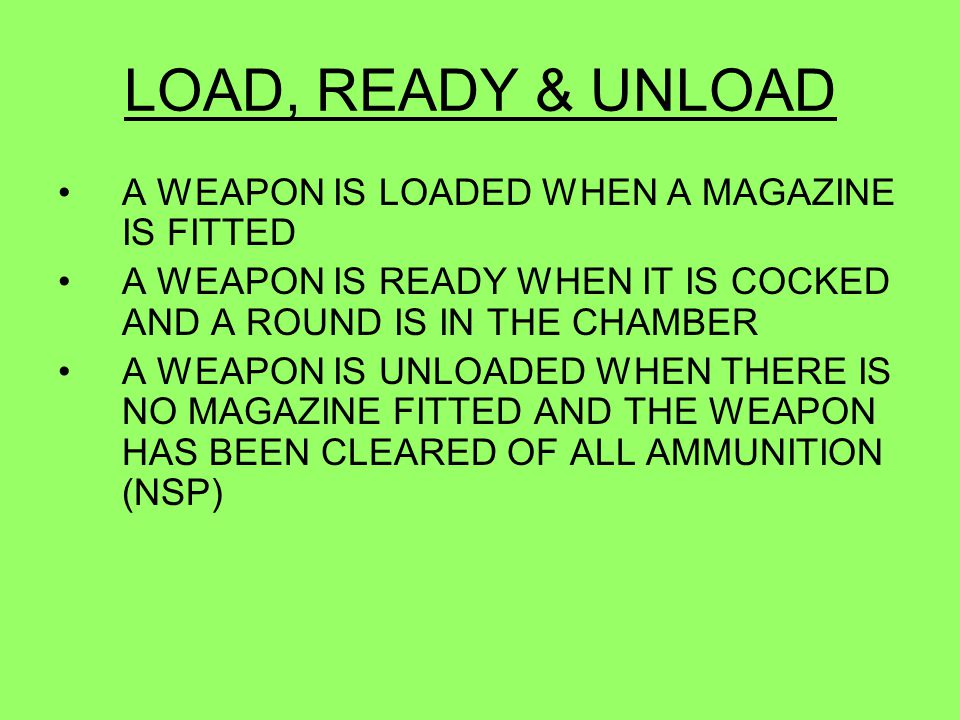 LOAD, READY & UNLOAD A WEAPON IS LOADED WHEN A MAGAZINE IS FITTED