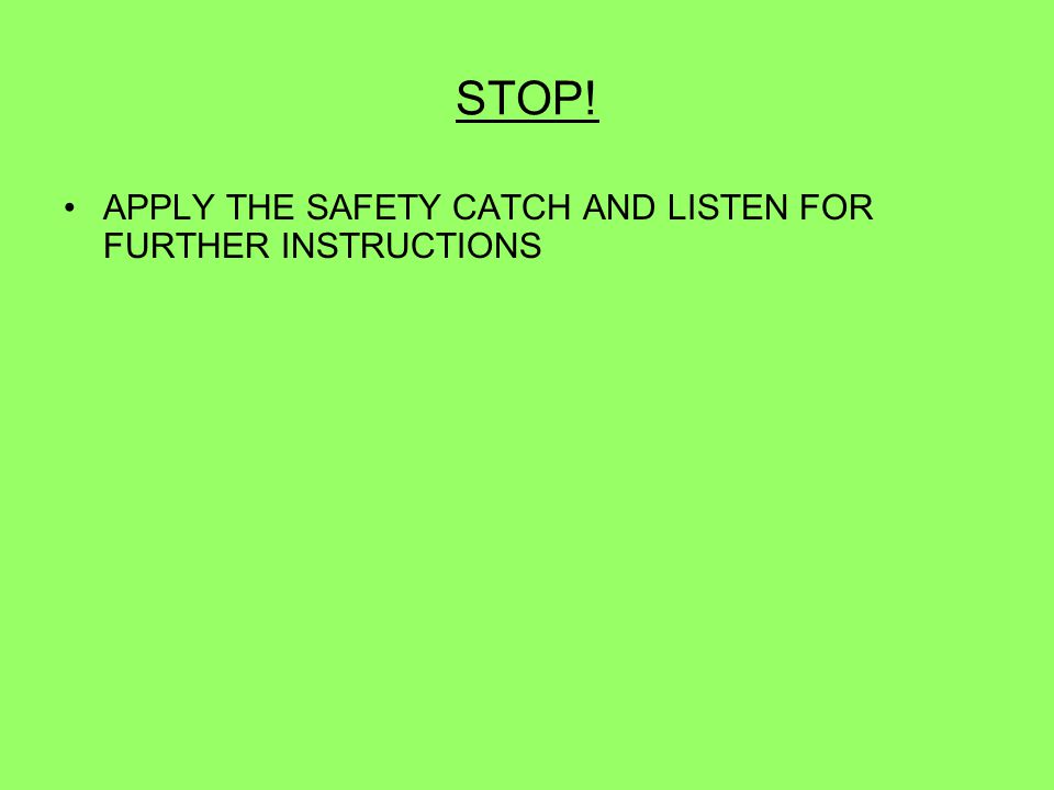 STOP! APPLY THE SAFETY CATCH AND LISTEN FOR FURTHER INSTRUCTIONS 87