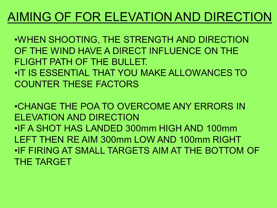 AIMING OF FOR ELEVATION AND DIRECTION
