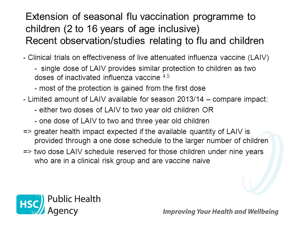 Recent observation/studies relating to flu and children