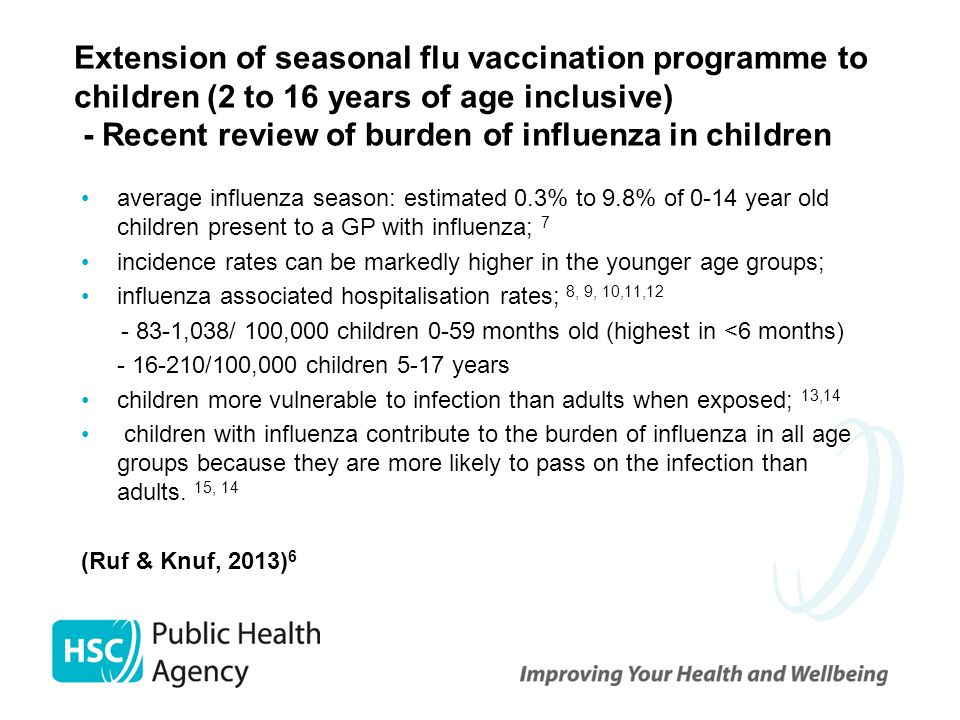 Extension of seasonal flu vaccination programme to children (2 to 16 years of age inclusive) - Recent review of burden of influenza in children