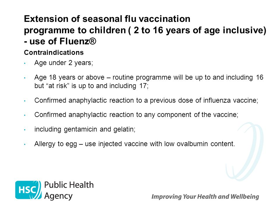Extension of seasonal flu vaccination programme to children ( 2 to 16 years of age inclusive) - use of Fluenz®