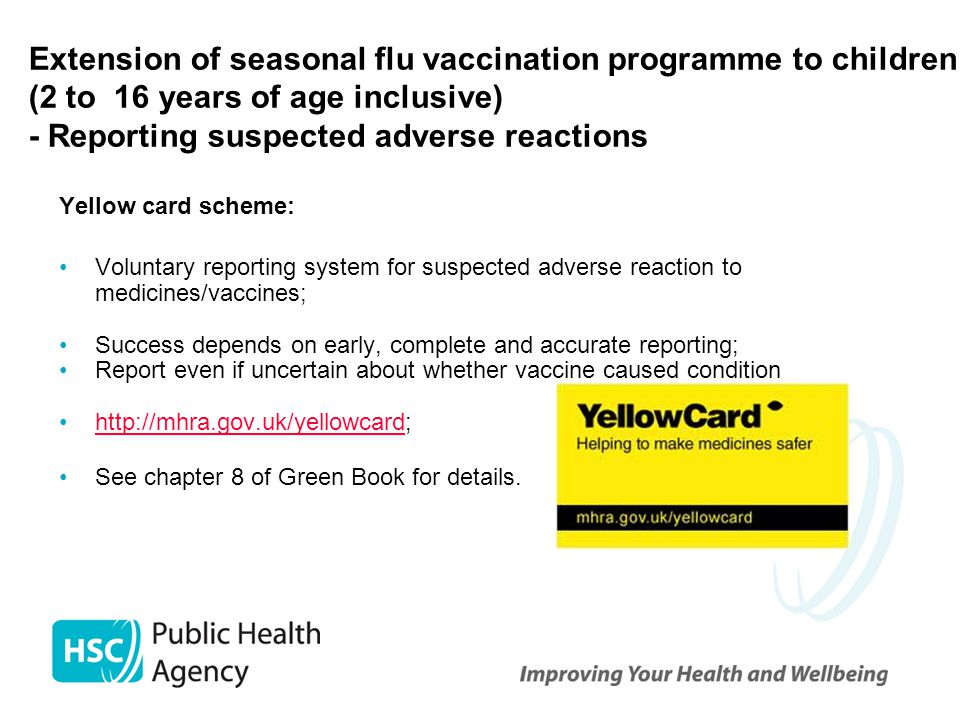 Extension of seasonal flu vaccination programme to children (2 to 16 years of age inclusive) - Reporting suspected adverse reactions