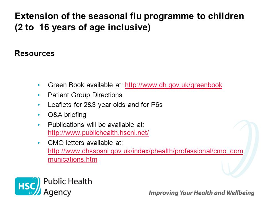 Extension of the seasonal flu programme to children (2 to 16 years of age inclusive) Resources