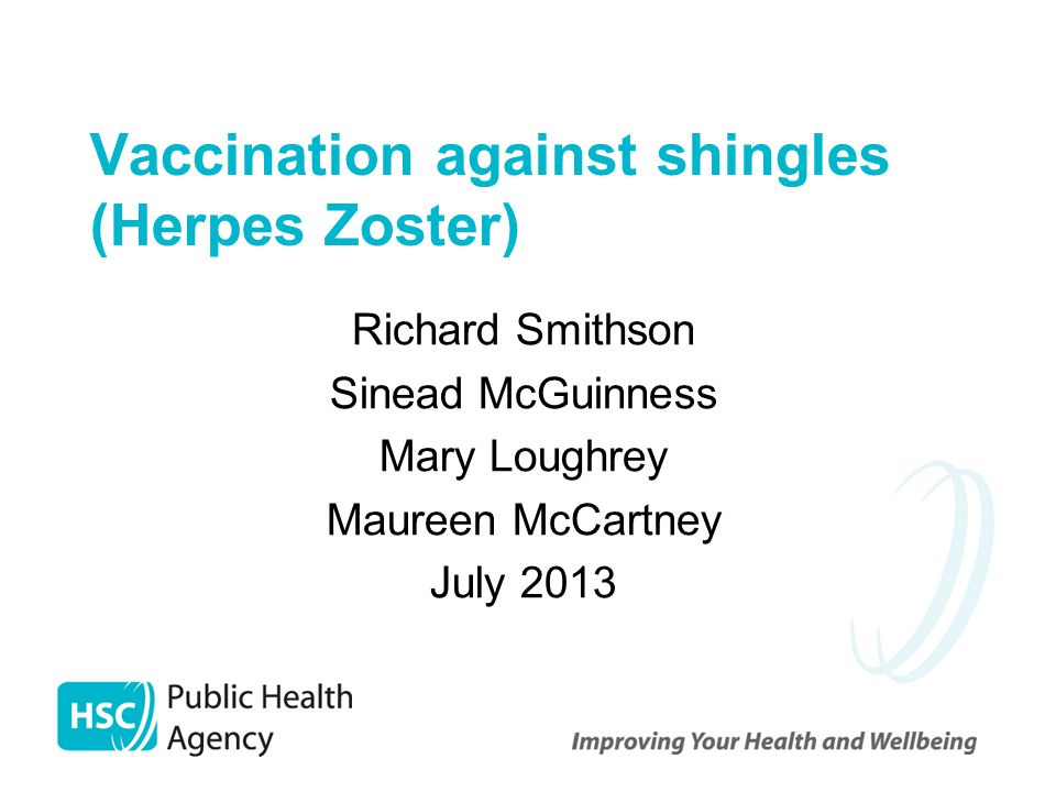 Vaccination against shingles (Herpes Zoster)