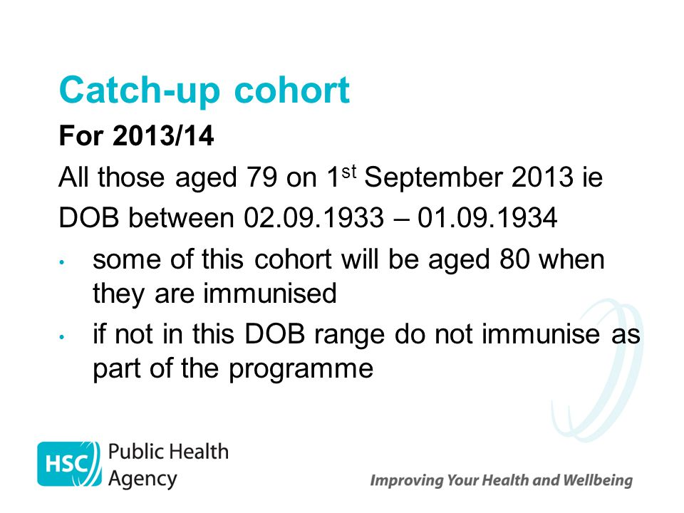 Catch-up cohort For 2013/14 All those aged 79 on 1st September 2013 ie