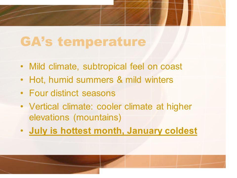 GA's temperature Mild climate, subtropical feel on coast
