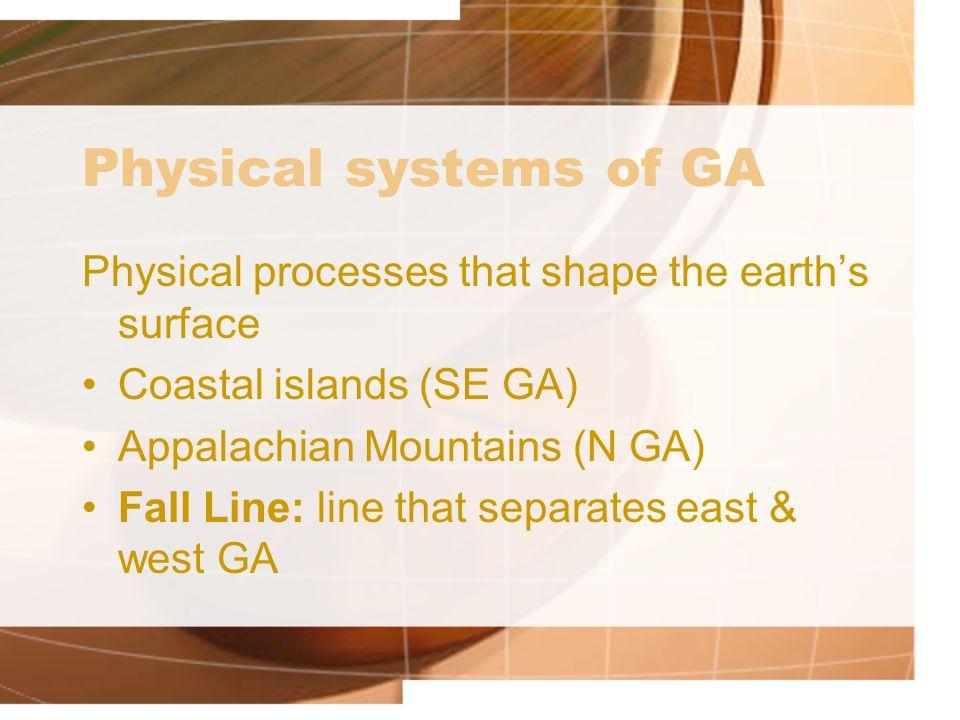 Physical systems of GA Physical processes that shape the earth's surface. Coastal islands (SE GA) Appalachian Mountains (N GA)