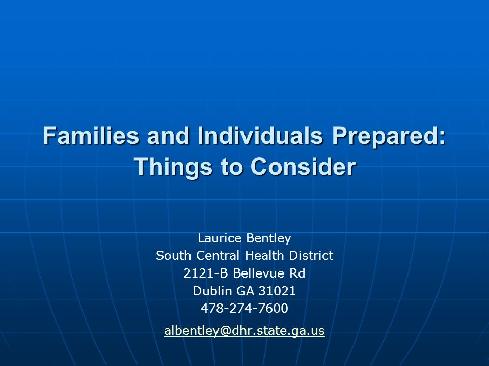 Families and Individuals Prepared: Things to Consider