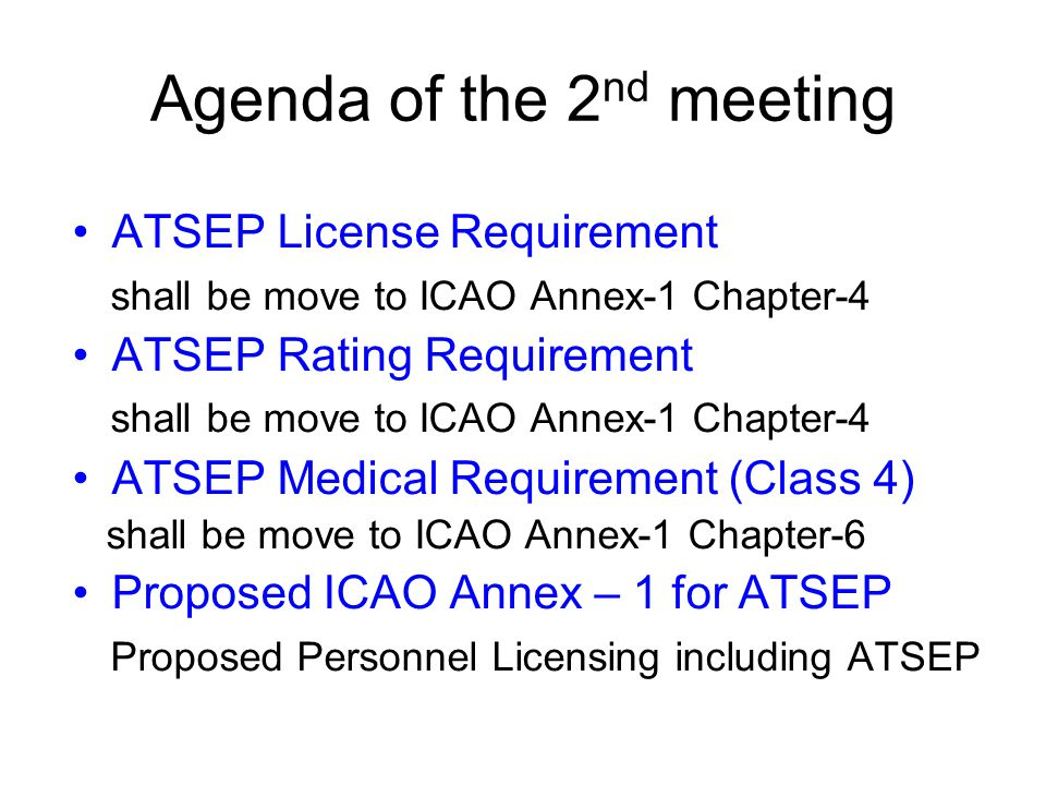 Agenda of the 2nd meeting