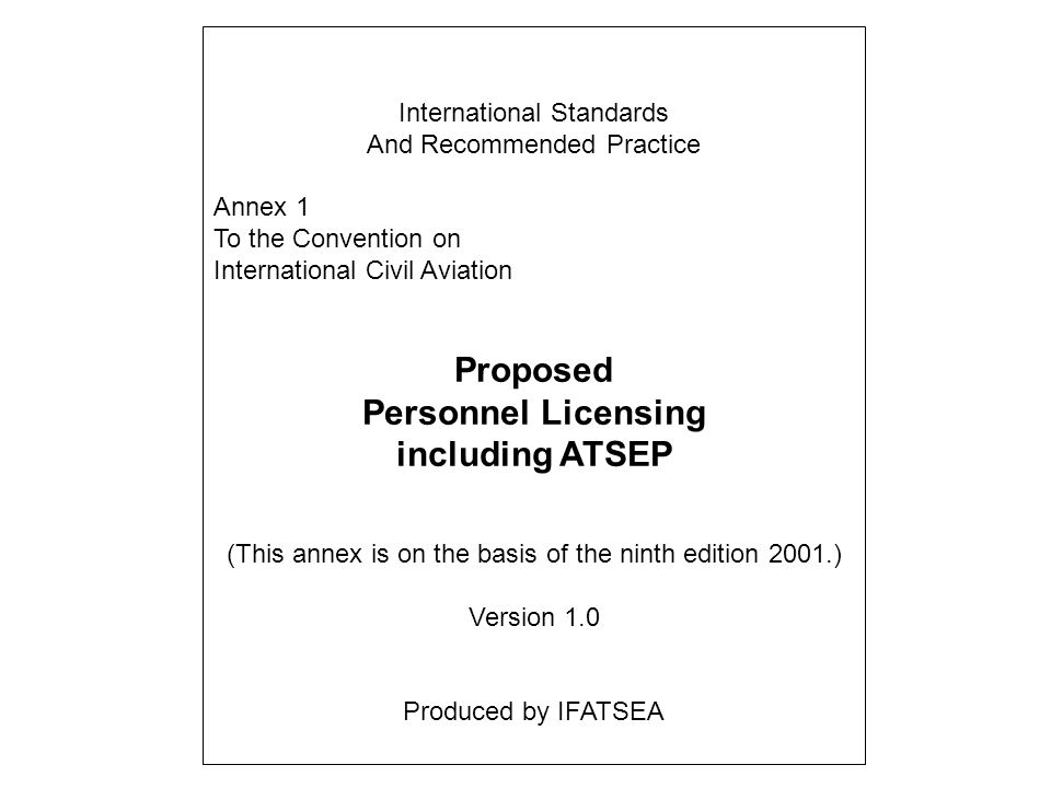 Proposed Personnel Licensing including ATSEP