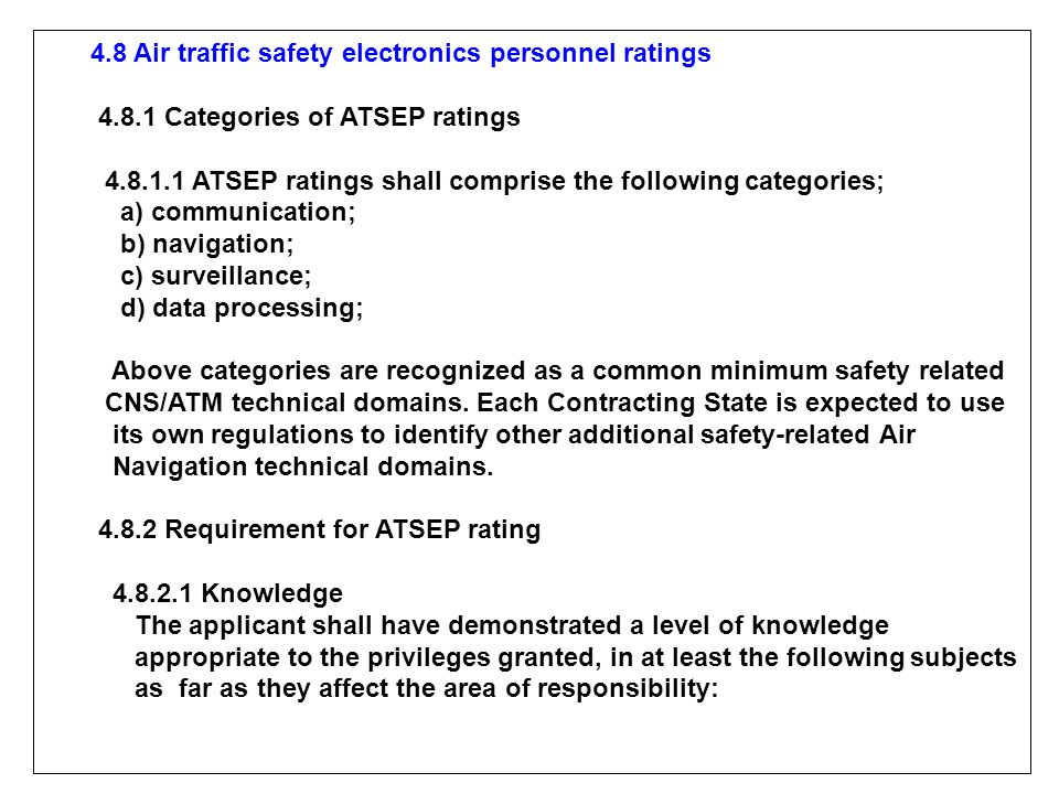 4.8 Air traffic safety electronics personnel ratings