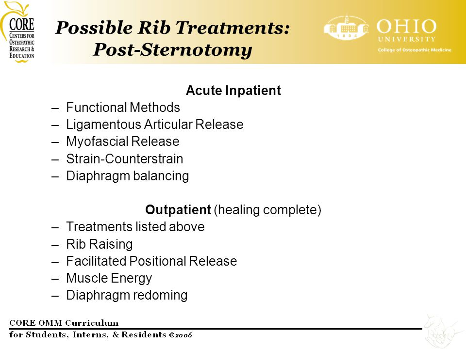Possible Rib Treatments: Post-Sternotomy