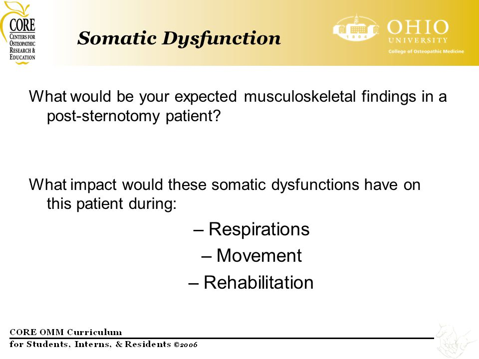 Somatic Dysfunction Respirations Movement Rehabilitation