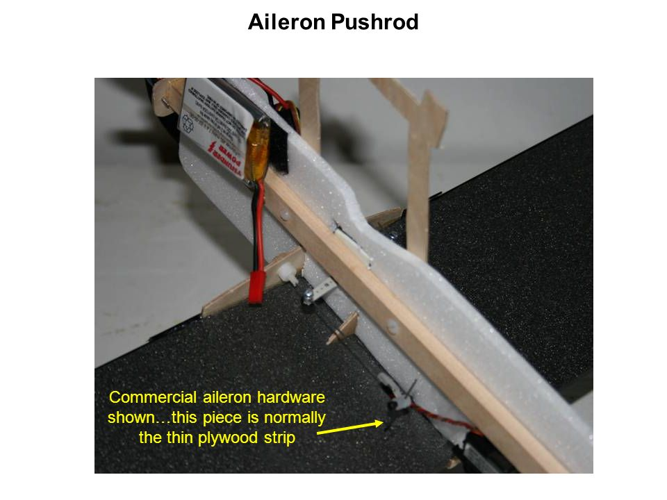Aileron Pushrod Commercial aileron hardware shown…this piece is normally the thin plywood strip