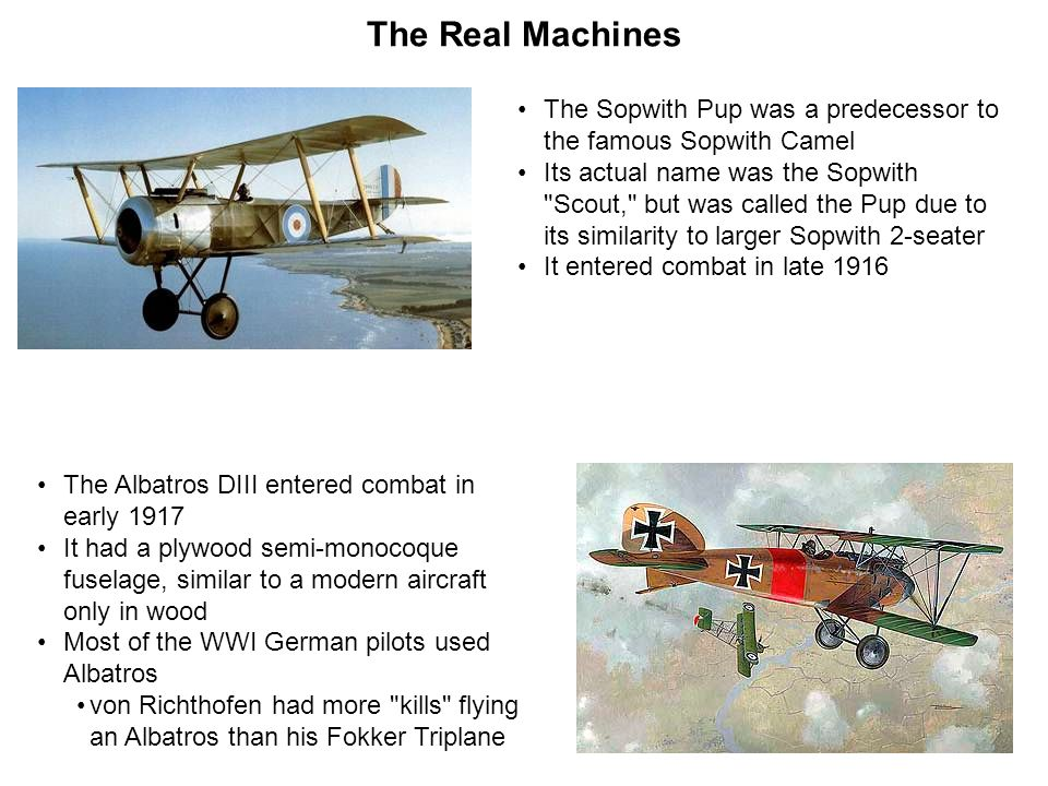 The Real Machines The Sopwith Pup was a predecessor to the famous Sopwith Camel.