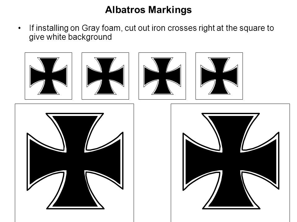 Albatros MarkingsIf installing on Gray foam, cut out iron crosses right at the square to give white background.