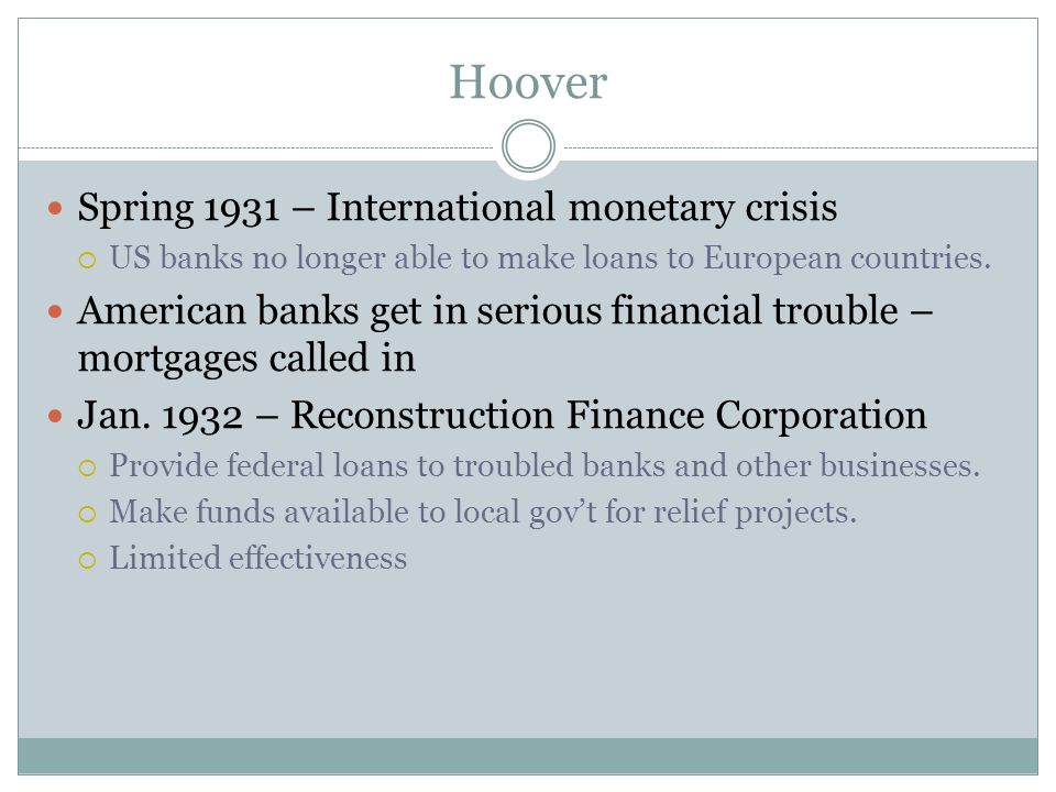Hoover Spring 1931 – International monetary crisis