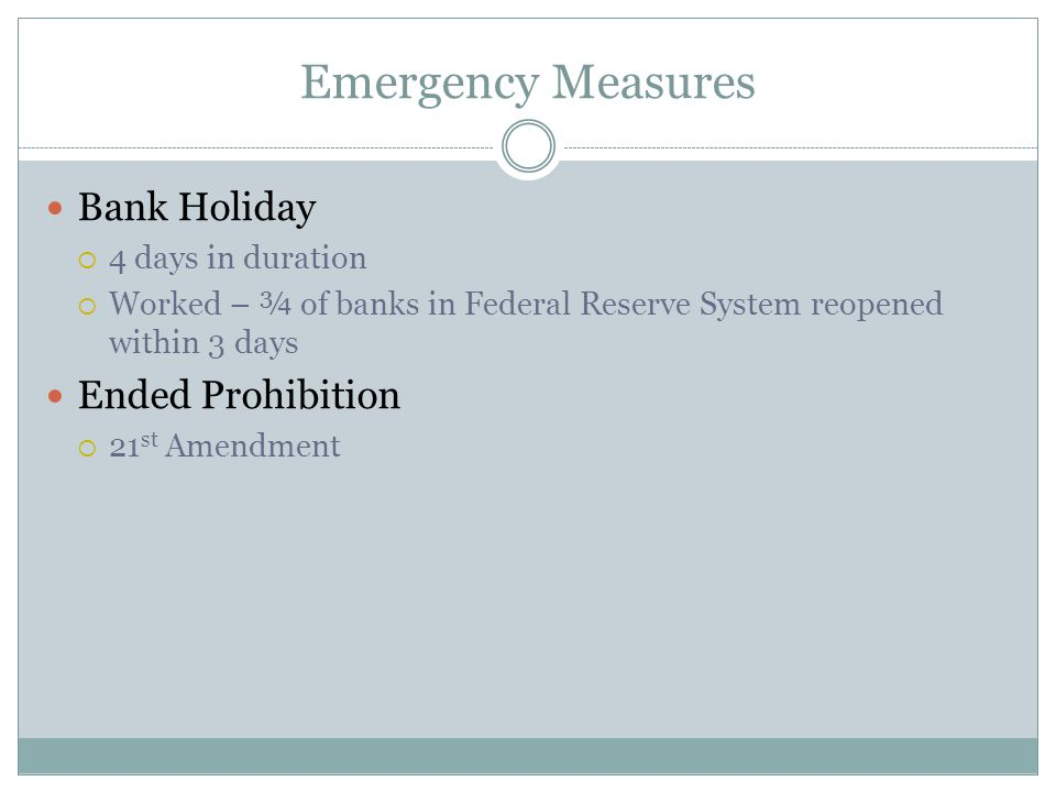 Emergency Measures Bank Holiday Ended Prohibition 4 days in duration